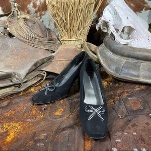 "Pierre Dumas Black Suede 3.5"" High Heel Size 10M"